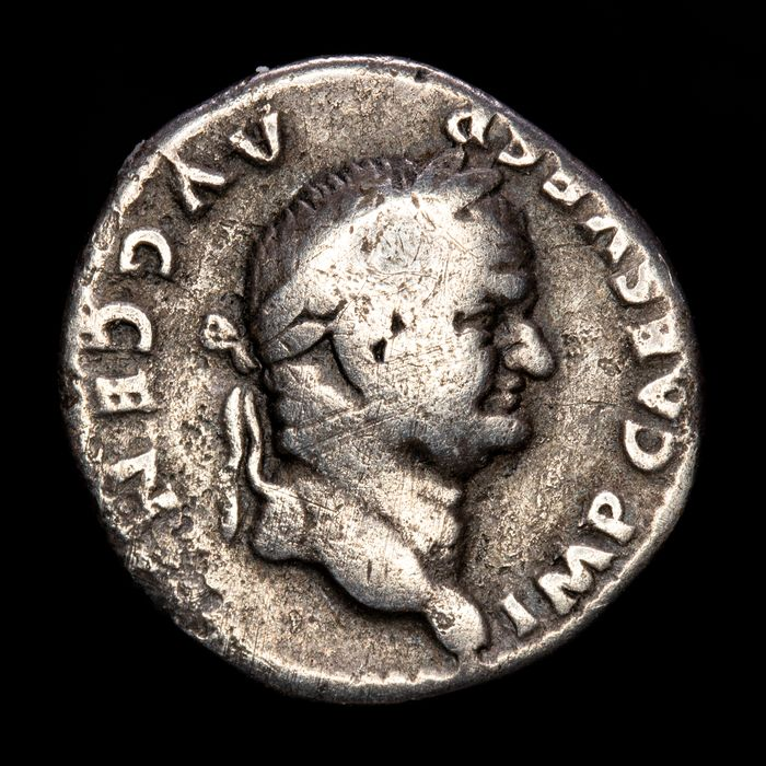 Roman Empire - Denarius - Vespasian (69-79 A.D.) Rome mint - SPQR within laurel wreath.  - Silver