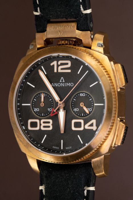"""Anonimo - Automatic Militare Chrono Bronze Blackl with Hand Made Italian Leather Strap - AM-1120.04.001.A01 """"NO RESERVE"""" - Homme - BRAND NEW"""