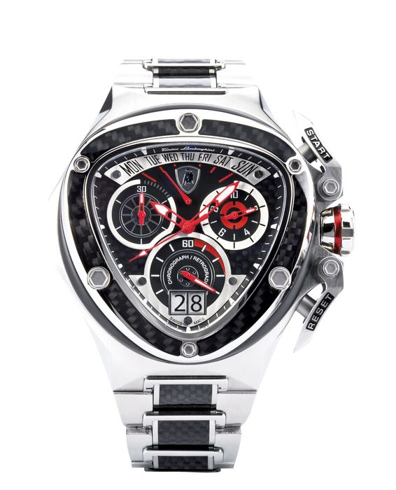 Tonino Lamborghini - Chronograph Watch Stainless Steel Spyder with Carbon Inserts Swiss Made - 3019 - Heren - 2011-heden
