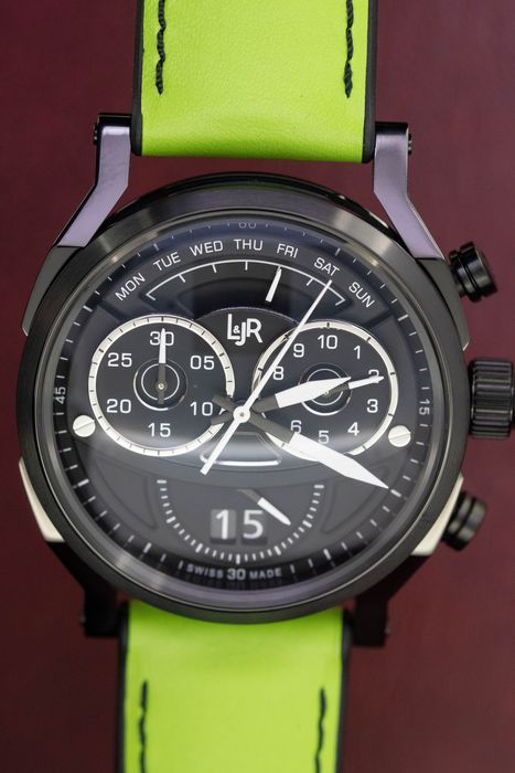 "L&Jr - Chronograph Day and Date Black Dial and Green Strap + Extra Grey Strap - S1505-S11 ""NO RESERVE PRICE"" - Herren - 2011-heute"