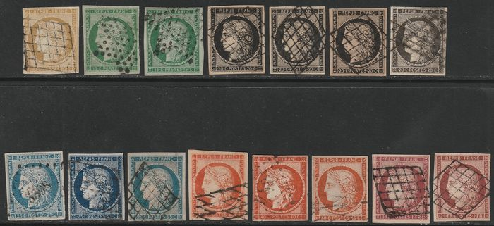 Frankreich Ceres 1849 - Set up to 1 fr. with variety of colours, 15 different values with good margins - Unificato NN.1+2+2b+3+3a+3b+3c+4+4a+4b+5+5a+5b+6+6b