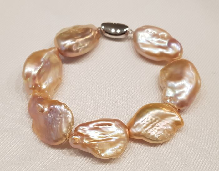 925 Zilver - 17x20mm Roze zoetwaterparels - Armband