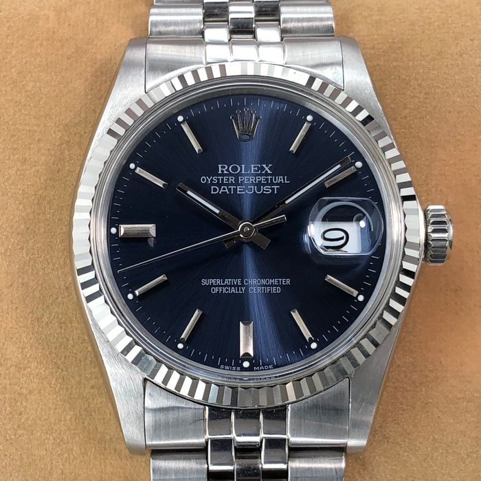 Rolex - Datejust Blue Dial - 16014 - Heren - 1980-1989