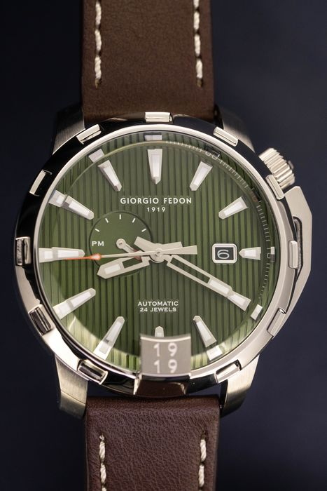 """Giorgio Fedon - Automatic Watch Timeless VIII Green with Italian Leather Strap - GFCI005 """"NO RESERVE PRICE"""" - Homme - Brand New"""