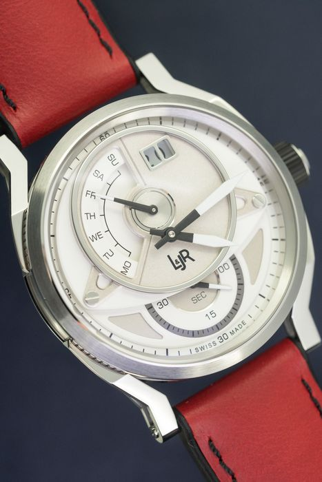 "L&Jr - Day and Date Silver Dial with Burgundy Strap + Extra Black Strap - S1304-S12 ""NO RESERVE PRICE"" - Herren - 2011-heute"