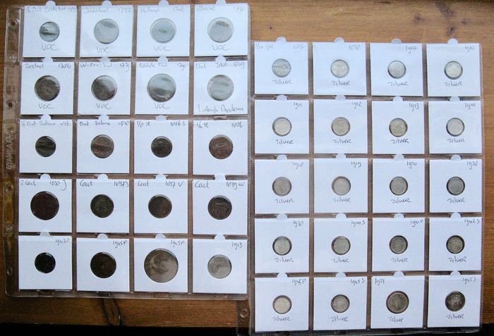 Dutch East Indies, VOC - 1/2 Duit t/m 1/4 Gulden  1732/1945 (40 verschillende) incl. 20x zilver