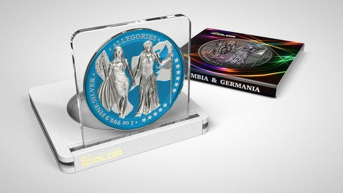 Germany. 5 Mark 2019 - Germania -  The Allegories i-Color Edition - Cerulean  - 1 Oz