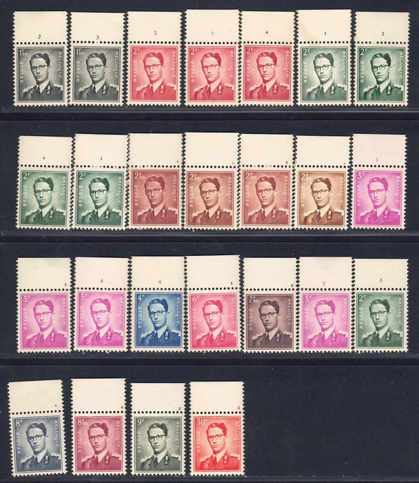 Belgien - Lot with 25 stamps of King Baudouin type 'Marchand', all with plate numbers