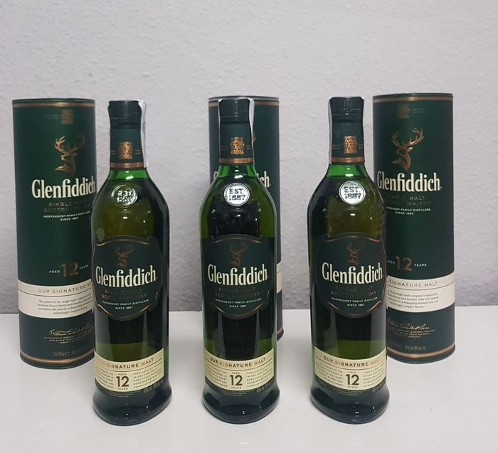 Glenfiddich 12 years old - Original bottling - 70cl - 3 bouteilles