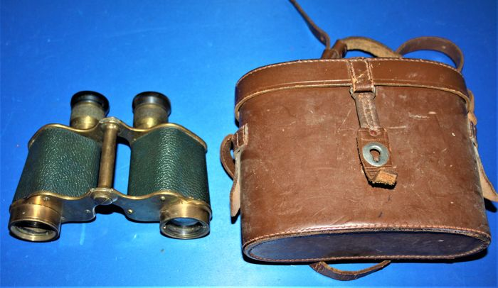India/U.K. - Army - A pair of I.O.F military binoculars, Type: Bino prism no.2,MKII, broad arrow marked, in leather - 1943