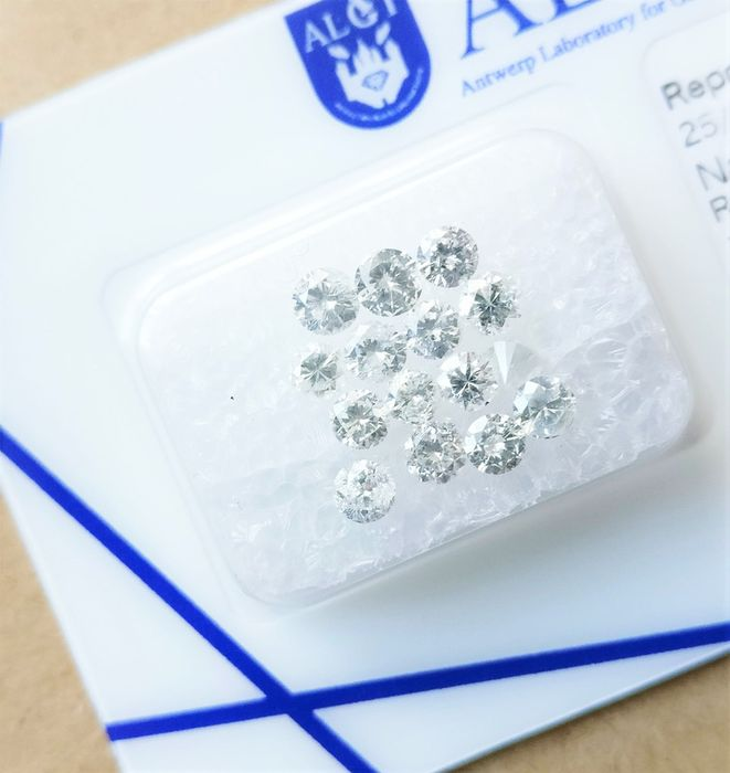 15 pcs Diamonds - 1.58 ct - Brilliant - e-i - I1-I2