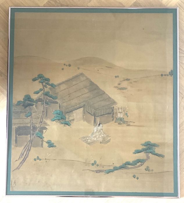 Gemälde - Seide - Chinese - Seated person and house besides a paddy - Framed behind glass - China - 19. / 20. Jahrhundert