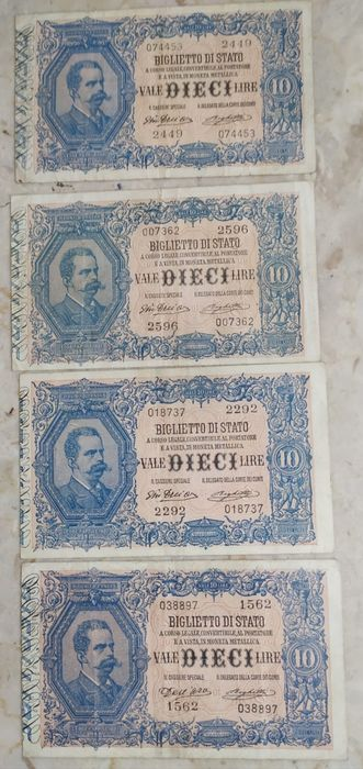 Italie - 5 banknotes 1880-1920