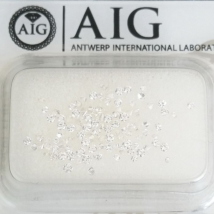 103 pcs Diamantes - 0.70 ct - Redondo - D (incoloro), E, F - VS1, VVS1, VVS2, ***No Reserve Price***