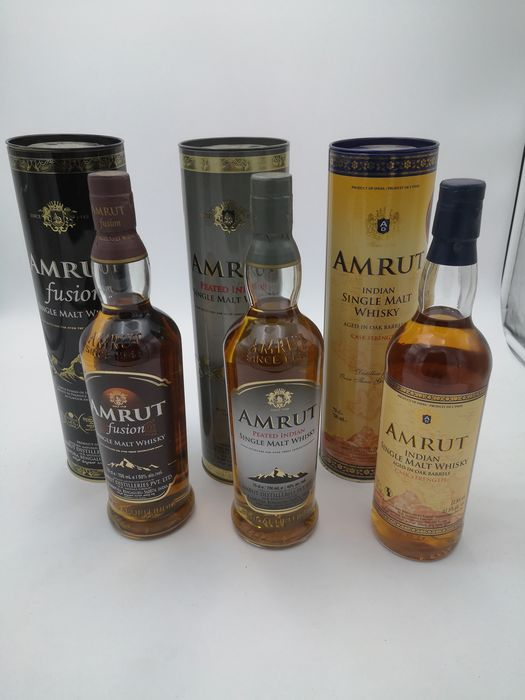 Amrut Peated Indian & Fusion & Cask Strength - 70cl - 3 bottles