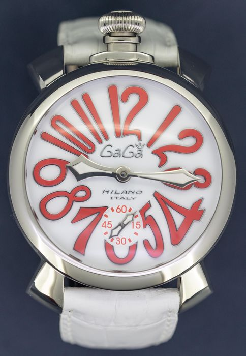 GaGà Milano - Manuale 48MM Steel White and Red Mechanical - 5010.14 - Unisex - Brand New