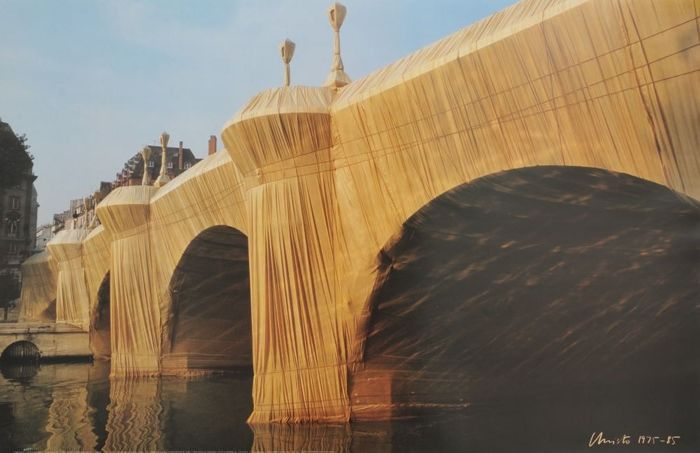 Christo - 3 graphics - Reichstag - Pont neuf - the wall