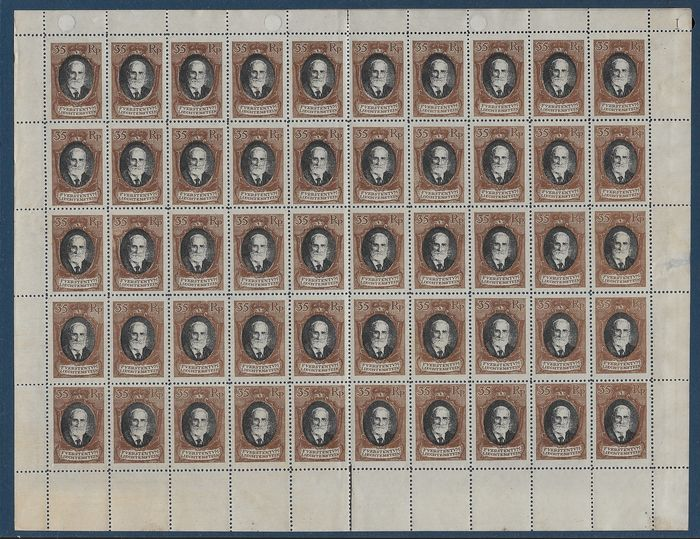 Liechtenstein 1921 - Prince John II. Complete sheet of 50 stamps - Michel 56