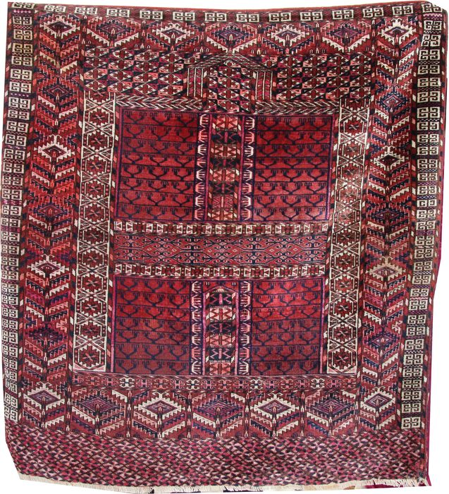 Antique Turkmen Hatchli rug - 136 cm - 132 cm
