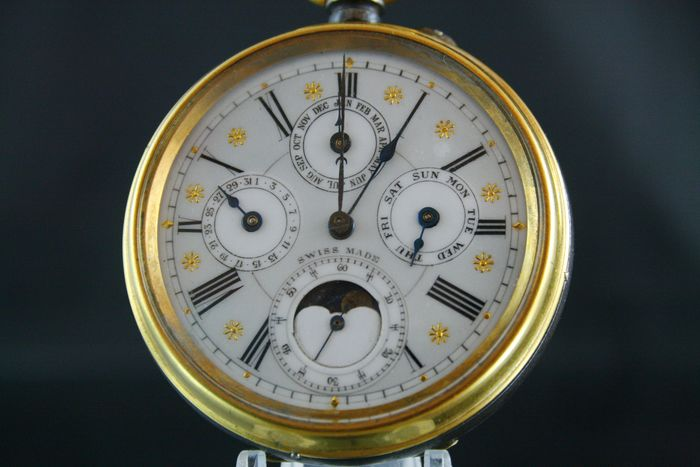 Triple calendar moon phase -  pocket watch  - NO RESERVE PRICE  - Unissexo - 1850-1900