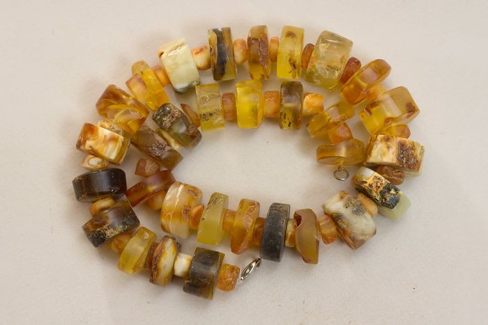 Antique big necklace yellow transparent Amber - Ketting