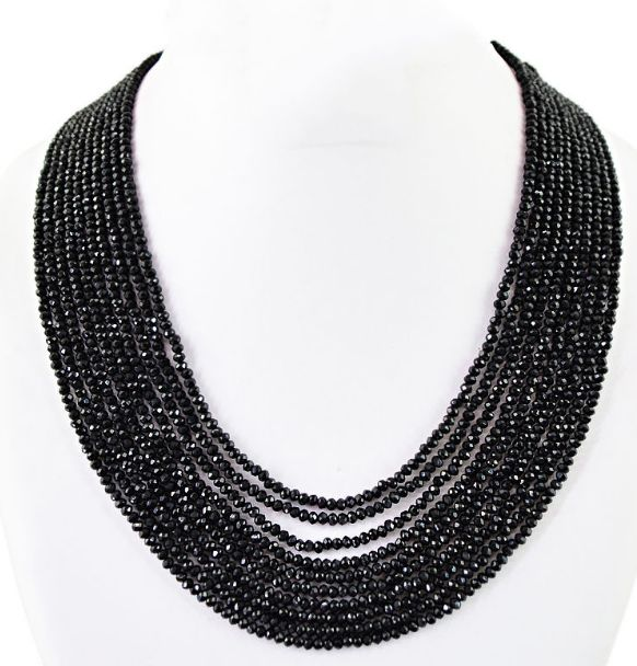 Black Spine necklace ten wires hand made faceted beads Polished - 84 g - (1)
