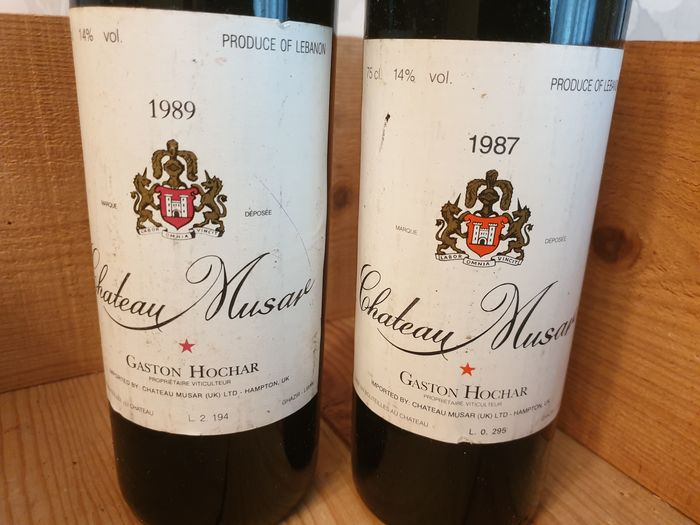 Lote mixto - 1989 Chateau Musar (1) - 1987 Chateau Musar - ghazir - 2 Botellas (0,75 L)