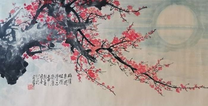 Inktschildering - Papier - In style of Wang Chengxi《王成喜—红梅》 - China - 21e eeuw
