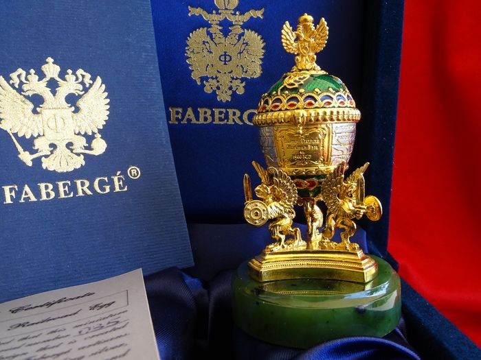 Authentic Faberge Egg Original - 24 carat gold finished and solid silver - Faberge Imperial egg - Certificate of Authenticity  - Russia - Second half 20th century