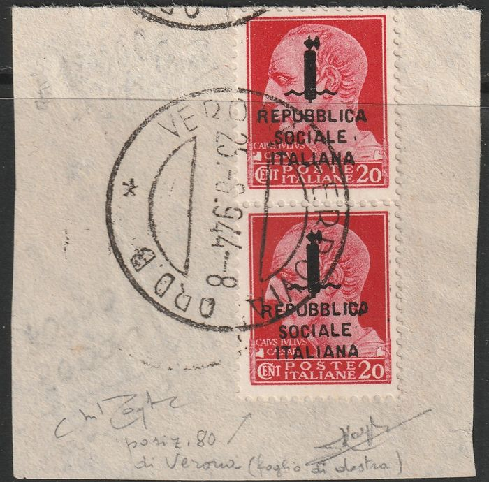 Italien 1944 - RSI - Verona issue overprint by mistake on 20 c. used pair pos.70-80 - Sassone N. 595/A