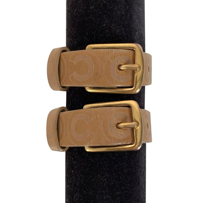 Chanel - Tan Leather Double Buckle Coco Adjustable Cuff Armband