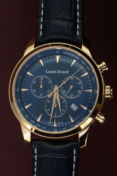 Louis Erard - Heritage Chronograph Rose Gold Blue Leather Strap Swiss Made - 13900PR15.BRC102 - Herren - BRAND NEW