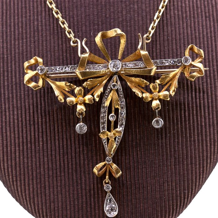 18 kt. Yellow gold - Necklace with pendant - 0.60 ct Diamond