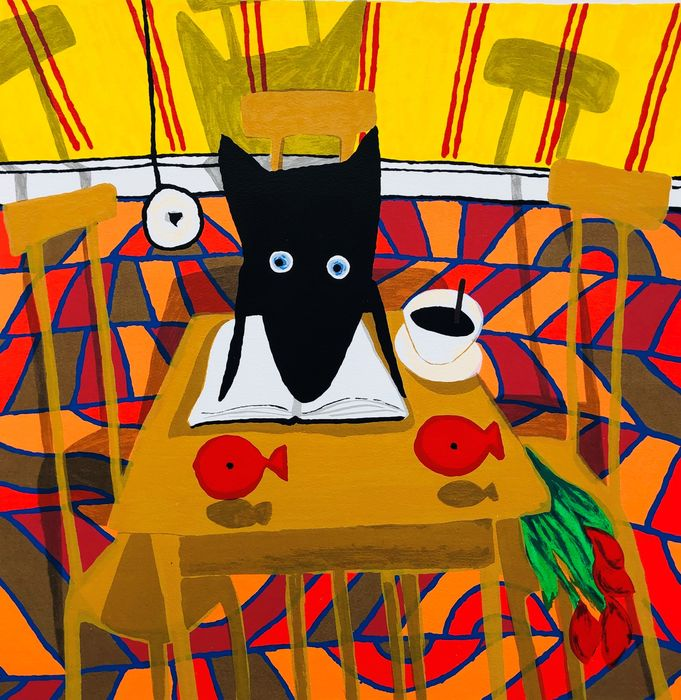 Peter Bastiaanssen - Dog with coffee and fish
