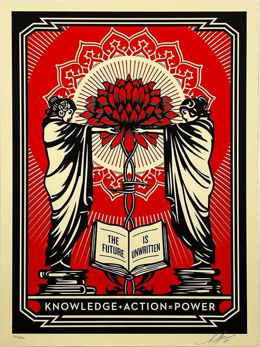Shepard Fairey (OBEY) - 'Knowledge & Power' (red)