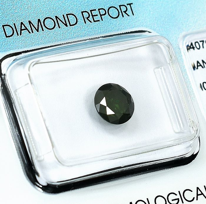 Diamant - 0.90 ct - Briljant -  Colour Treated Fancy Dark Yellowish Green - P2