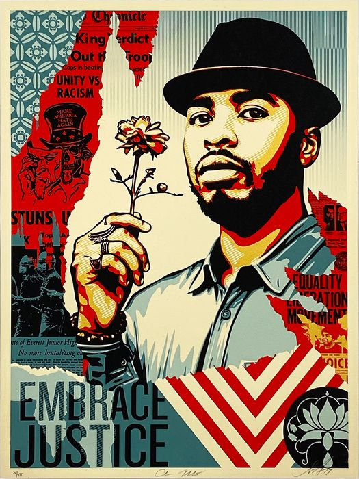 Shepard Fairey (OBEY) - 'Damaged Times: Embrace Justice'