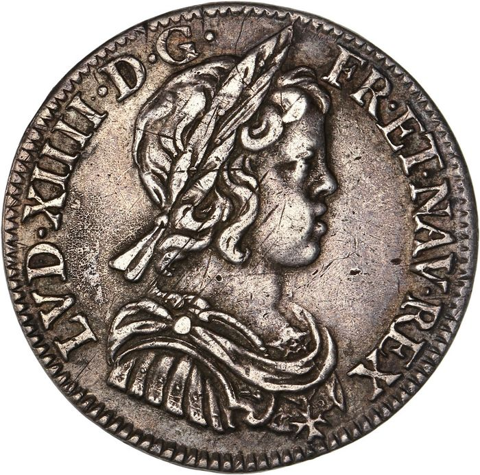 France - Louis XIV - 1/4 Écu 1645-A (Paris) - Silver
