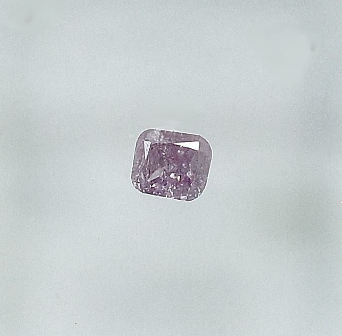 Diamant - 0.11 ct - Cushion - Fancy purplish Pink - I3 - NO RESERVE PRICE