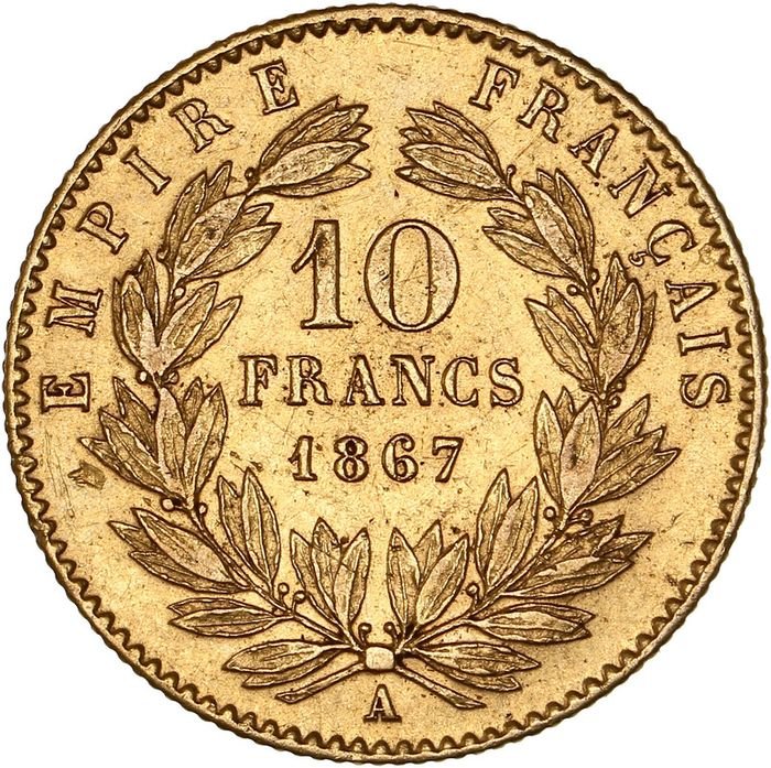 10 Francs 1867-A Napoléon III - Or