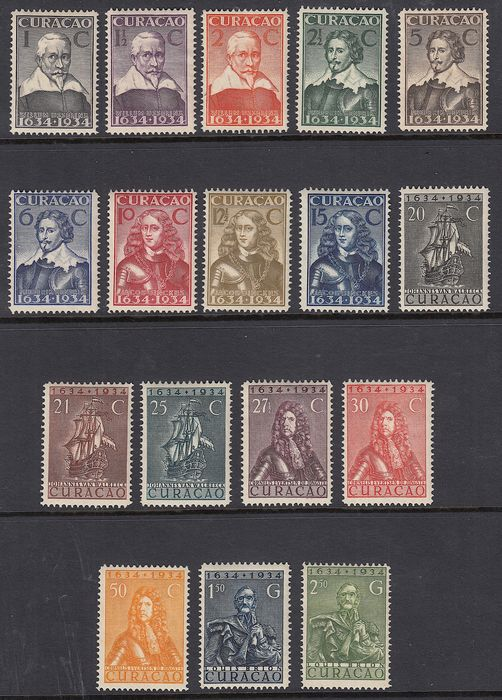 Curaçao 1934 - Three hundred years of administration on Curacao - NVPH 104/120