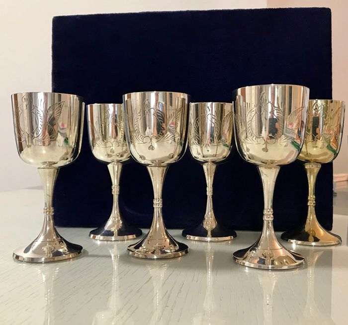 Drinking Set, Flutes (6) - Silverplate
