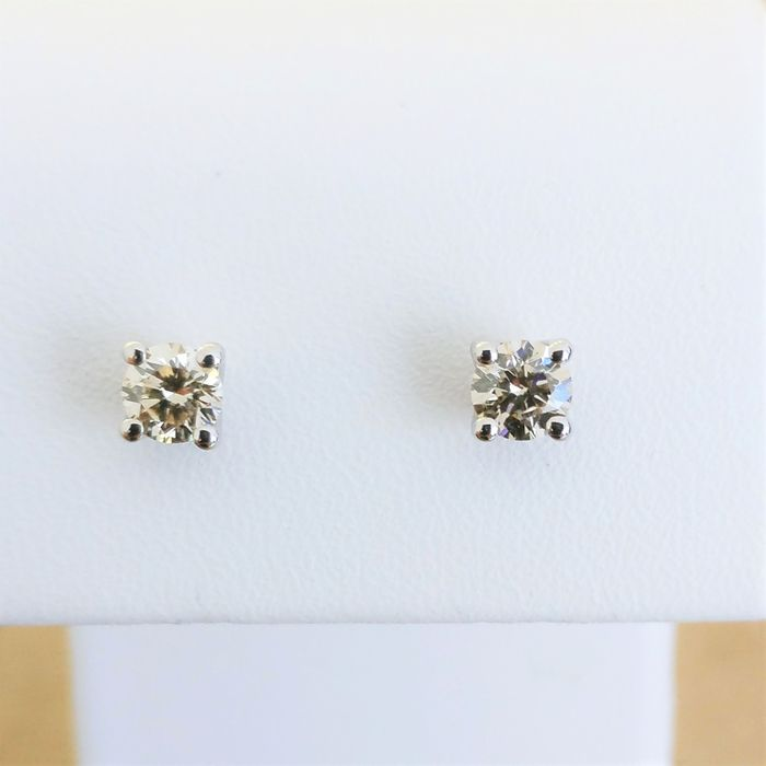 18 kt. White gold - Earrings - 0.63 ct Diamond