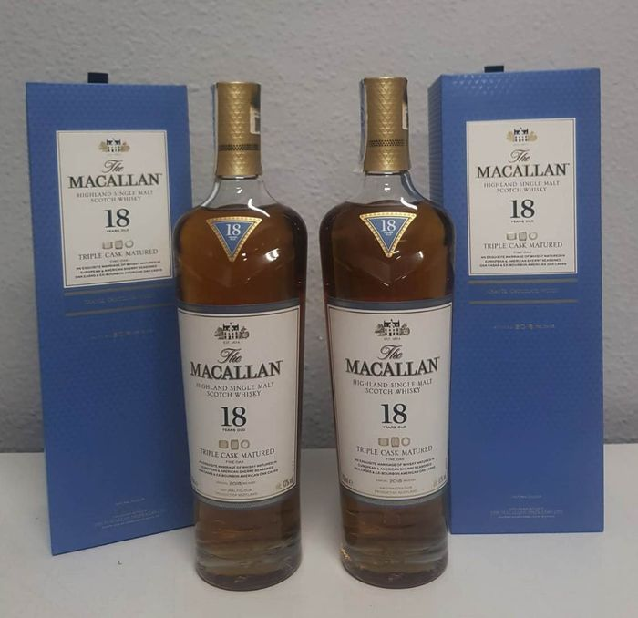 Macallan 18 years old Triple Cask Matured - Annual 2018 Release - Original bottling - 700ml - 2 bottles