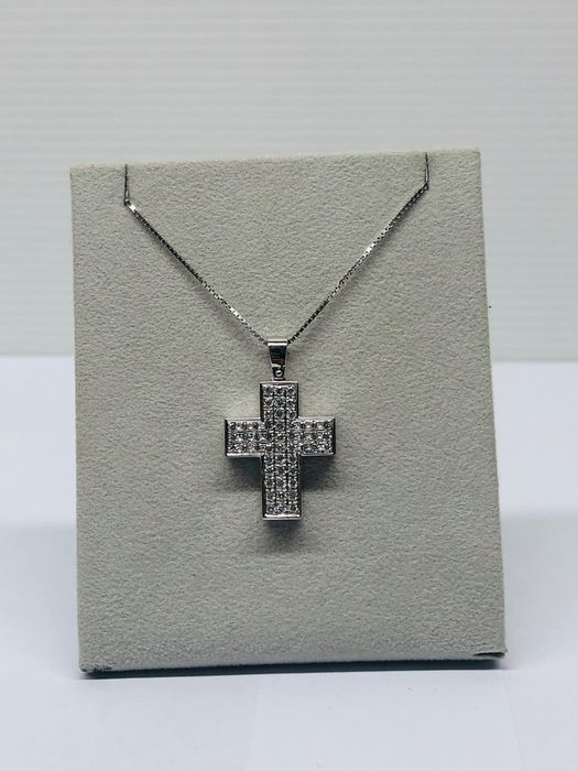 18 kt. White gold - Necklace with pendant - 0.80 ct Diamond