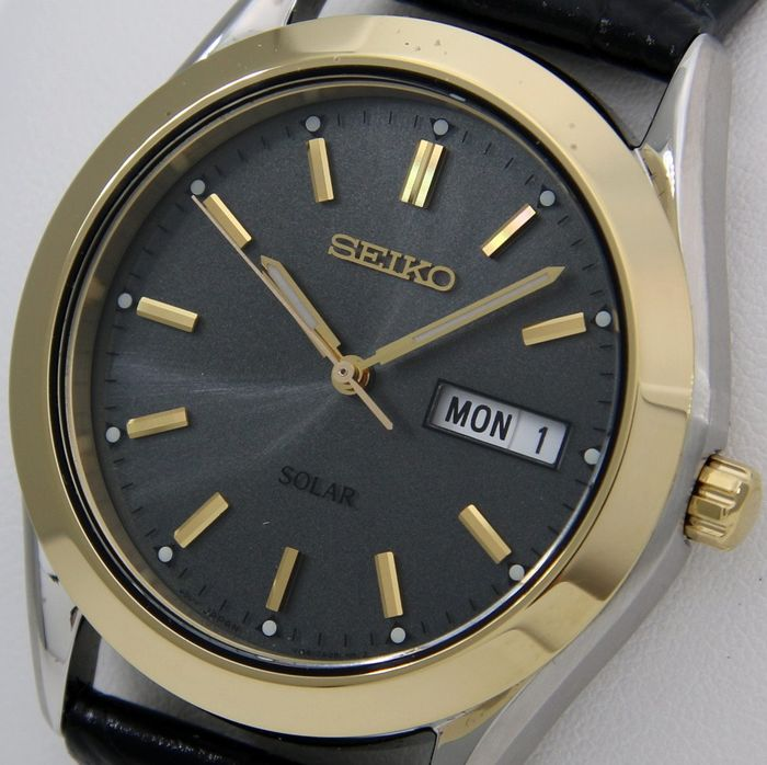 "Seiko - Solar ""Elegant Grey Dial"" Leather Watch - - ""NO RESERVE PRICE"" - - Unisex - 2011-heute"
