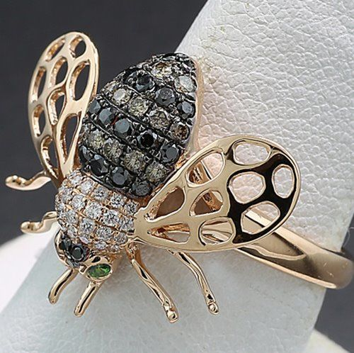 Ohne Mindestpreis / No reserve price - 18 karaat Rosé goud - Ring - 0.62 ct Bij met diamanten in wit, cognac en zwart Flying bee