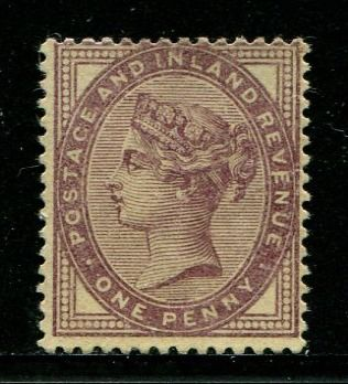 Großbritannien 1881 - 1 pence lilac printed on GUMMED SIDE & WATERMARK INVERTED - Stanley Gibbons SG173cVar
