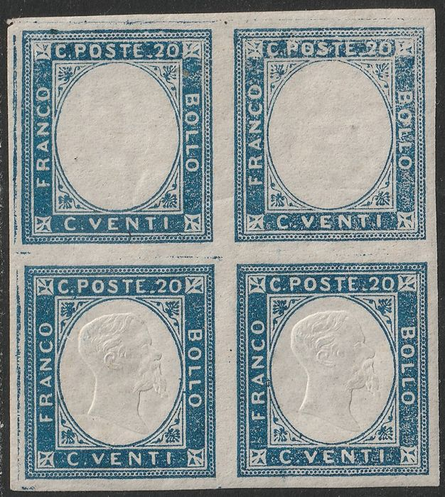 Neapolitanischen Provinzen 1861 - 20 cents block of four with 2 pieces without effigy with good margins, not issued - Sassone N. 3d