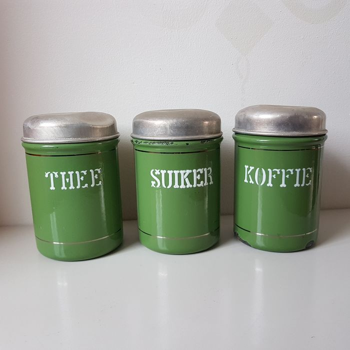 Suiker, Thee & Koffie - Reseda Storage canisters (3) - Emaille